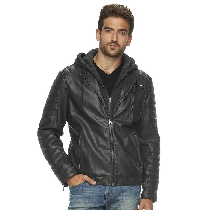 Big & Tall Marc Anthony Slim-Fit Hooded Faux-Leather Jacket, Men's, Size: Xl Tall, Grey (Charcoal)