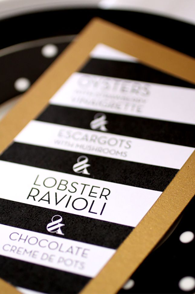 Love these striped wedding menus.