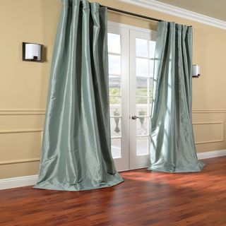 Solid Faux Silk Taffeta Robin's Egg 108-inch Curtain Panel | Overstock.com