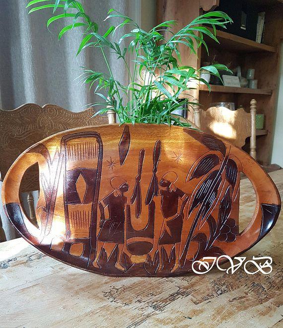 African hand carved wooden tray #africa #kitchen #homedecor #handmade