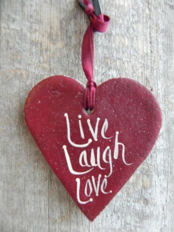 Live Laugh Love Salt Dough Valentine's Day Decoration Heart Ornament