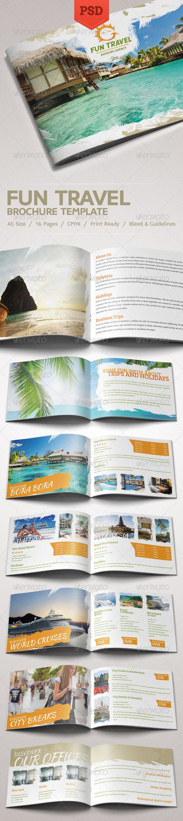 PSD Fun Travel Brochure Template • Only available here ➝ http://graphicriver.net/item/fun-travel-brochure/4438679?ref=pxcr