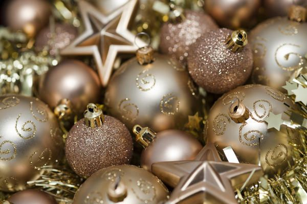 I Love Christmas!: Variety of gold Christmas decorations including baubles, stars, and tinsel for your festive background - By stockarch.com user: christmasman