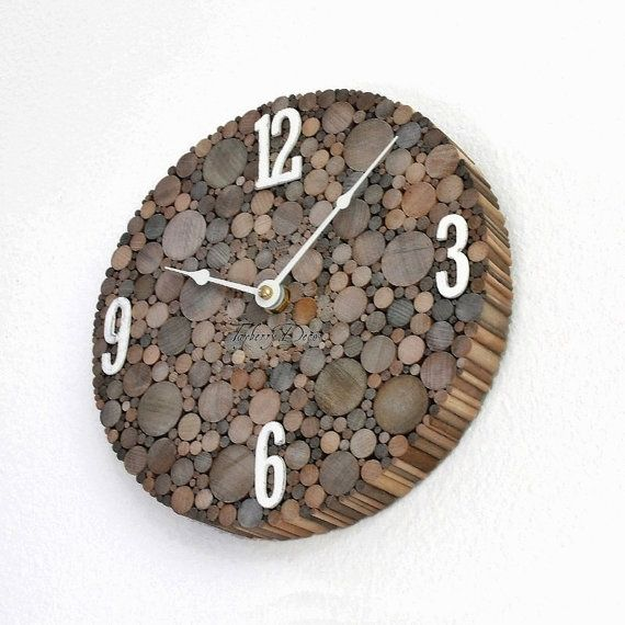 Rustic Wood Wall Clock Unique Wooden Clock by TayberryDecor