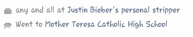 "OH THE IRONY XD ""Works as Justin Bieber's personal stripper Went to Mother Teresa Catholic High School"""