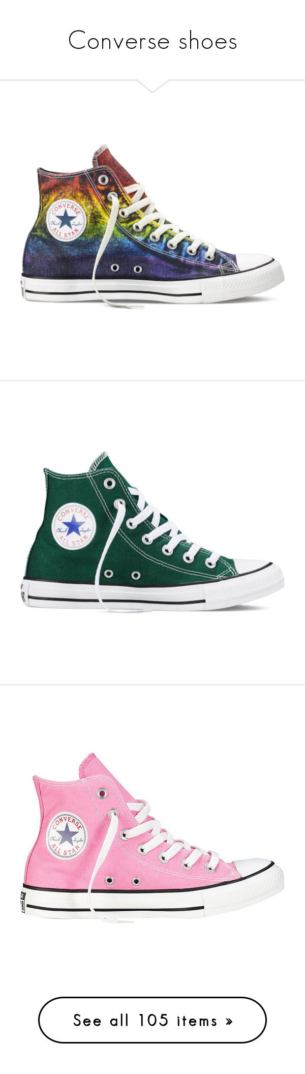 """""""Converse shoes"""" by xo-panda-xo ❤ liked on Polyvore featuring shoes, sneakers, converse, rainbow, purple high tops, high top shoes, red high top shoes, red high tops, converse shoes and green"""