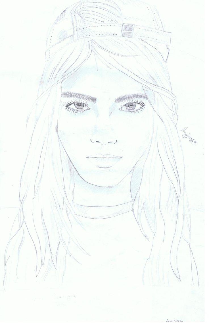 Tentativa de desenhar a Cara Delevingne espero que gostem ;)