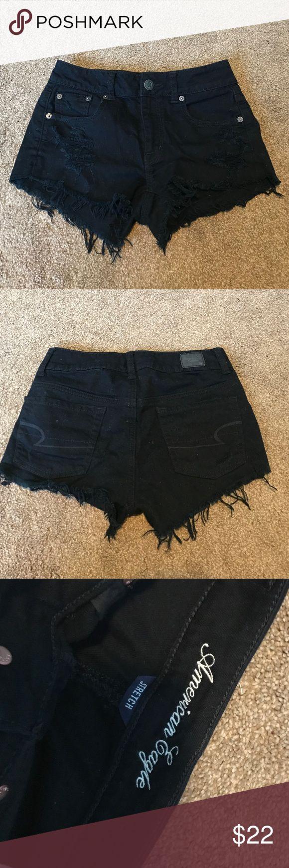 high waisted black jean shorts american eagle black jean high waisted shorts size 0 never worn One Teaspoon Shorts Jean Shorts