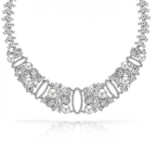 Bling Jewelry CZ Pearl Bridal Collar Tennis Necklace Estate Jewelry 14in
