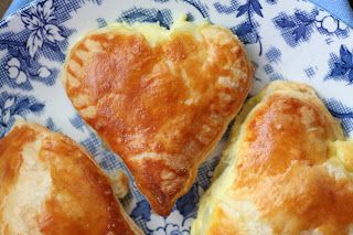 Sambousek Bi Jibne - Little Puff Pastry Cheese Pies/ Recipe from Claudia Roden's Arabesque.
