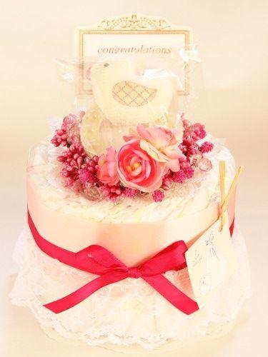 【おむつケーキ】ミニ/1段・ピンク|おむつケーキの店アンドラブリー*&Lovely
