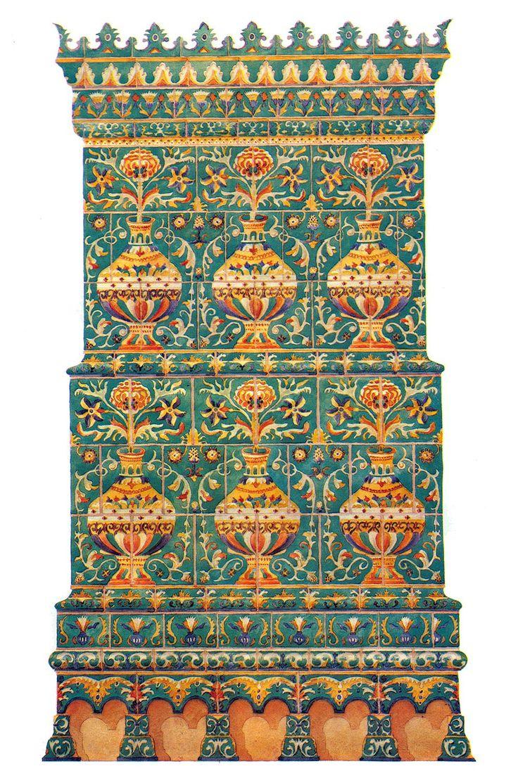 Печь, облицованная рельефными изразцами. 80-е годы 17 века.