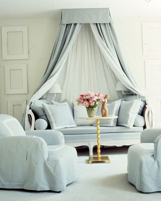 Love this idea of creating a little nook with a curtain!