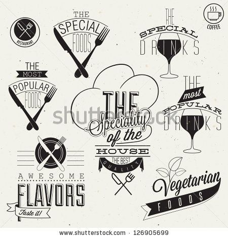 Vinate Style Restaurant Menu Designs And Illustrations. Calligraphic An Typographic Style Titles And Symbols For Restaurant Menu Design. Hand Lettering Style Typographic Symbols For Restaurant. Vector - 126905699 : Shutterstock