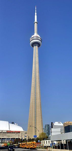 CN Tower, Toronto, Canada. The observation deck has a glass floor and from that height the base of the tower disappears to a point.
