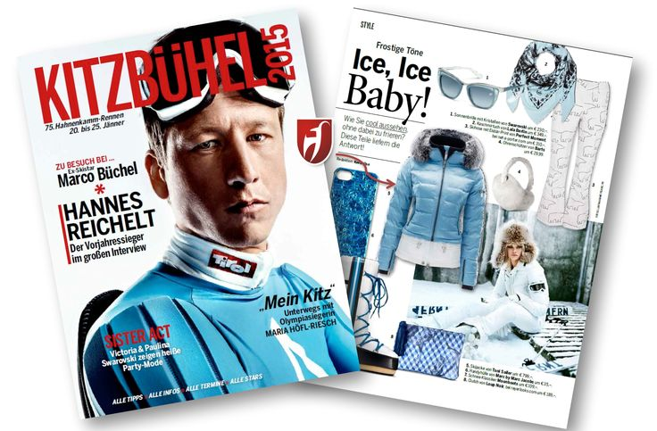Special supplement Kitzbühel 2015 in Austrian Magazin Seitenblicke. #tonisailer #skijacket Elie in vintage blue