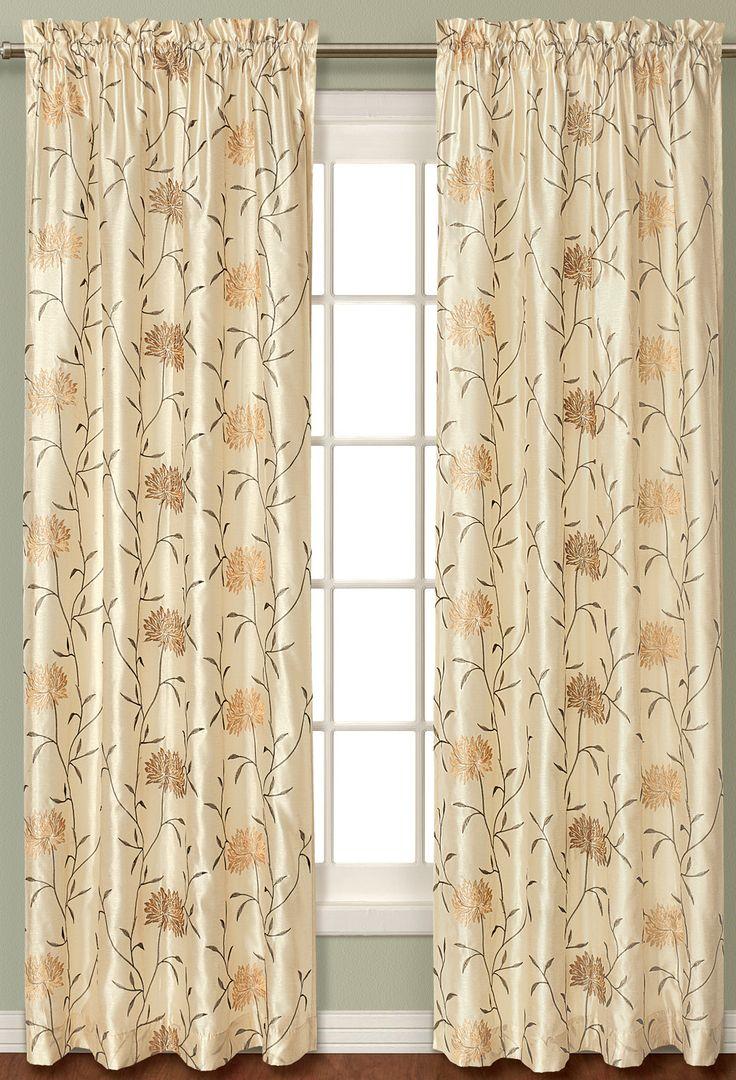 Back tab curtains on traverse rod - Avalon Silk Rod Pocket Curtain Panel