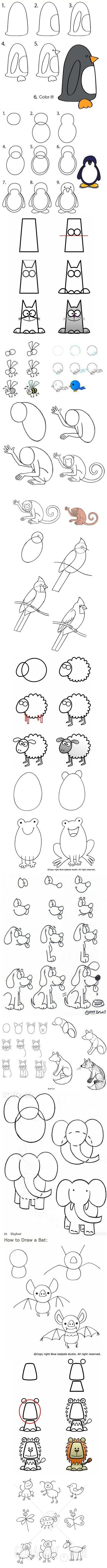How to draw animals- it's fun to do these together and see how each one comes out different, while all learning from the same sketch!