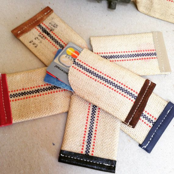 $18.00 reclaimed fire hose card wallet. made from fire hose from the 1960's and trimmed in leather.