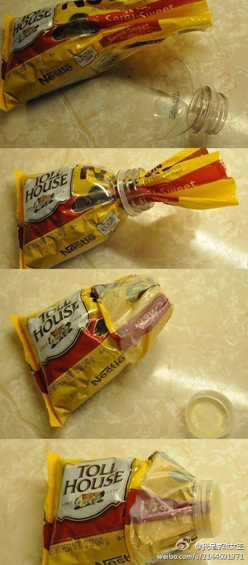 This is a great idea to reseal any bag of food. Why didn't I think of that? Awesome!