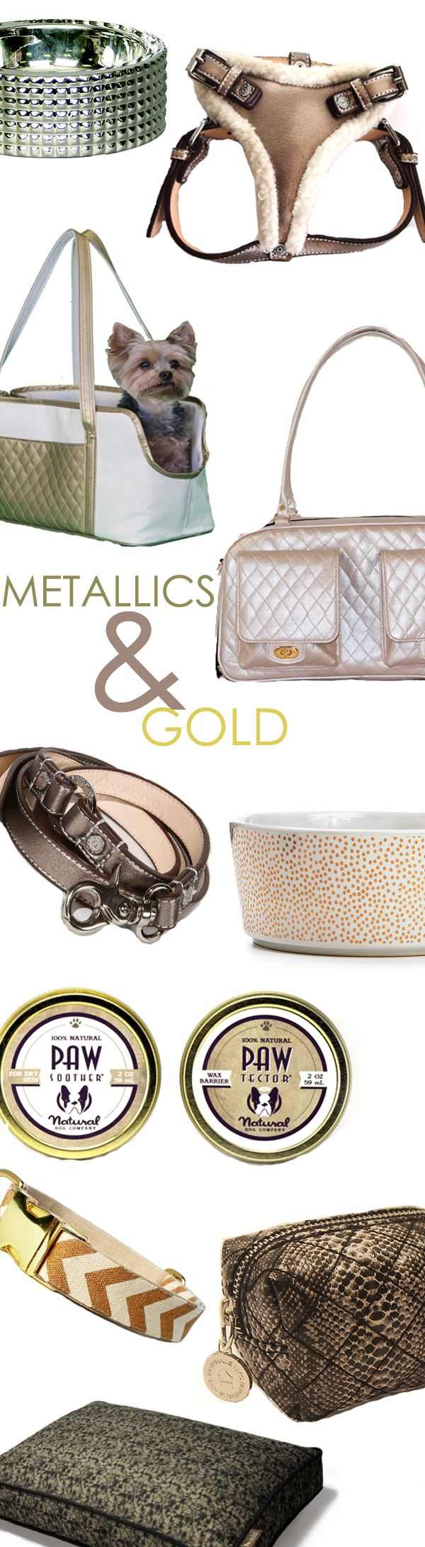 Metallics and gold are a huge trend this season! Give your 4-legged friends the gift of fashion this holiday with fashionable dog accessories from Felix Chien. From designer dog carriers to luxury dog collars and leashes, find all the sparkling styles you're wishing for.