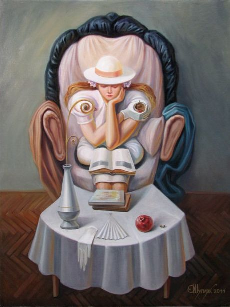 Oleg Shuplyak Hidden Images Paintings (hidden portrait of a man)