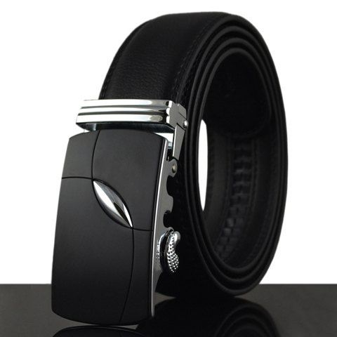 Fashionable Alloy Buckle Solid Color Faux Leather Belt For Men