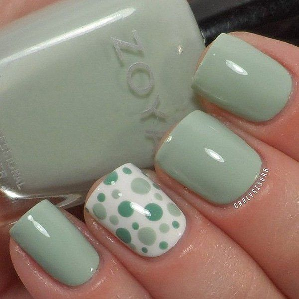 Check out this simple yet awesome looking olive, white and green ensemble of matte and polka dot designs.