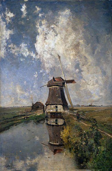 The Paintrist Files, Paul Gabriël - Windmill on a Polder Waterway,...
