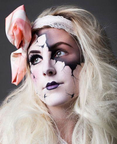 halloween make up diy -- no directions but looks pretty explanatory with face paint and make up.  to make it really intense you could use liquid latex or scar wax and mold a ledge at the crack to make it look even more realistic