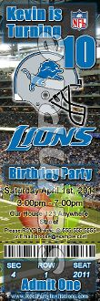 DETROIT LIONS TICKET STYLE INVITATIONS (WITH ENVELOPES)