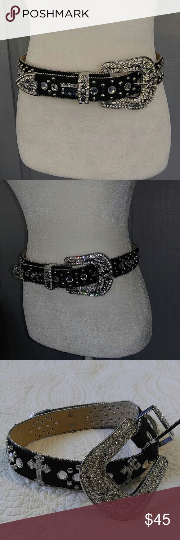 NWOT BHW WESTERN cowgirl bling leather belt Lots of sparkle rhinestones with crosses real leather BHW Accessories Belts