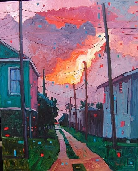 """Fire in the Sky"" by Rene' Wiley Gallery Oil ~ 30 x 24"