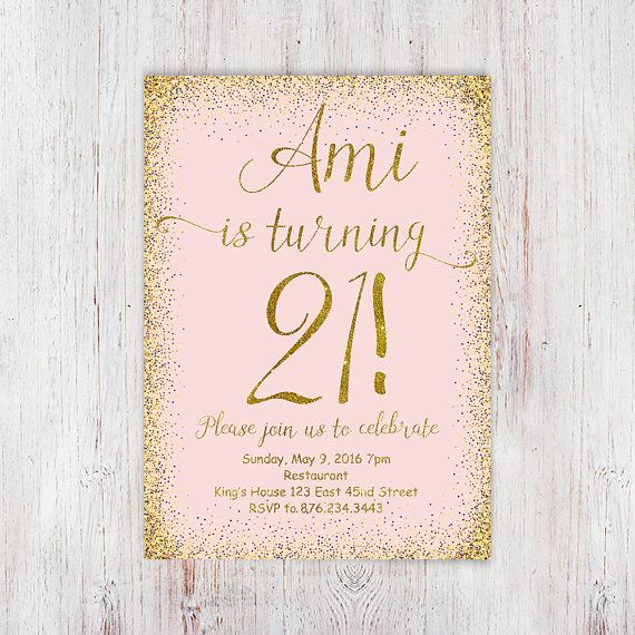 21st birthday invitation printable girly от InvitationsDigital