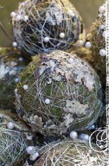 moss balls and silvery twine
