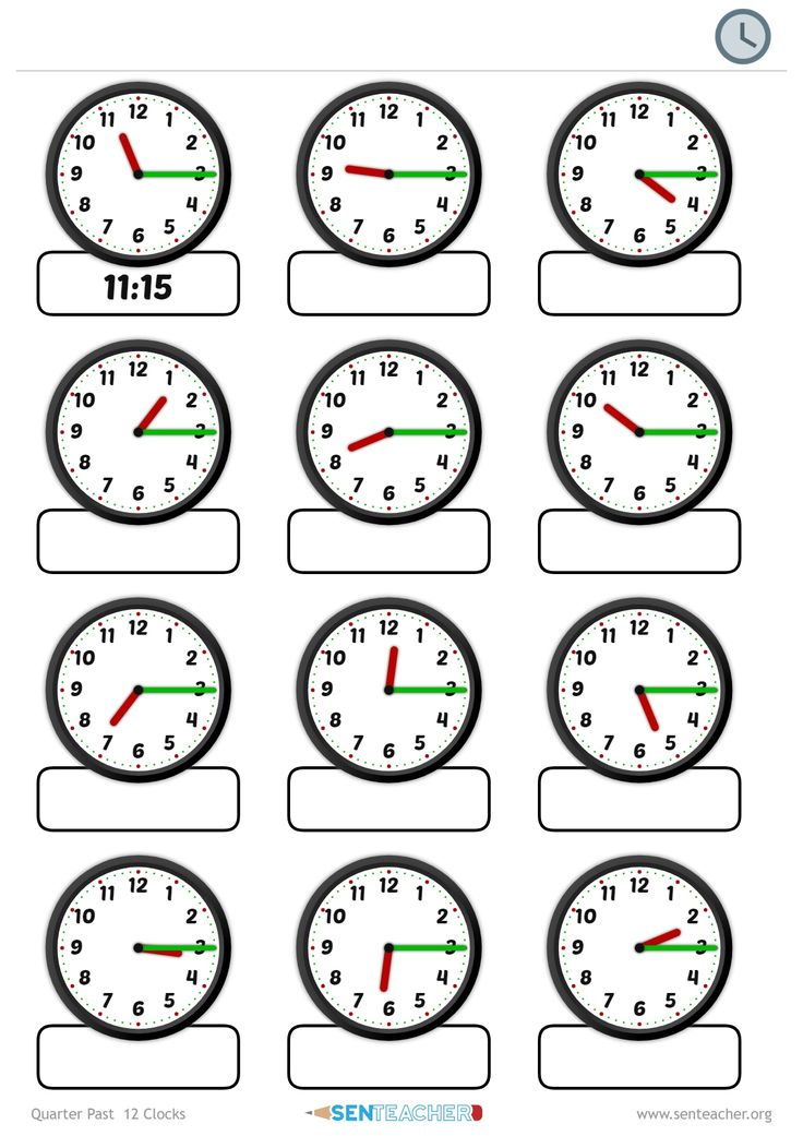 SEN Teacher ⋆ Clocks - Telling Time ⋆ Printable Worksheet ...