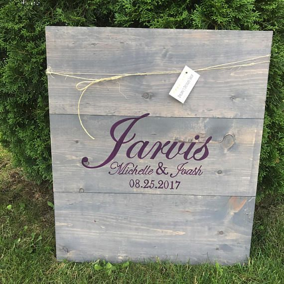 Large Initial with Date & Names Rustic Wood Wedding Guest Book