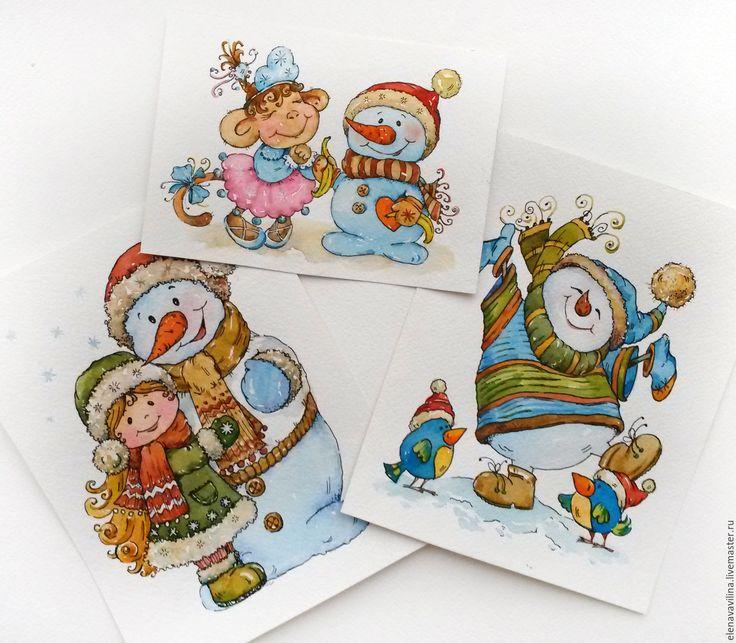 Новогодняя открытка акварель