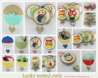 Κουκουβάγιες σε φωλίτσα Lucky owl pillow