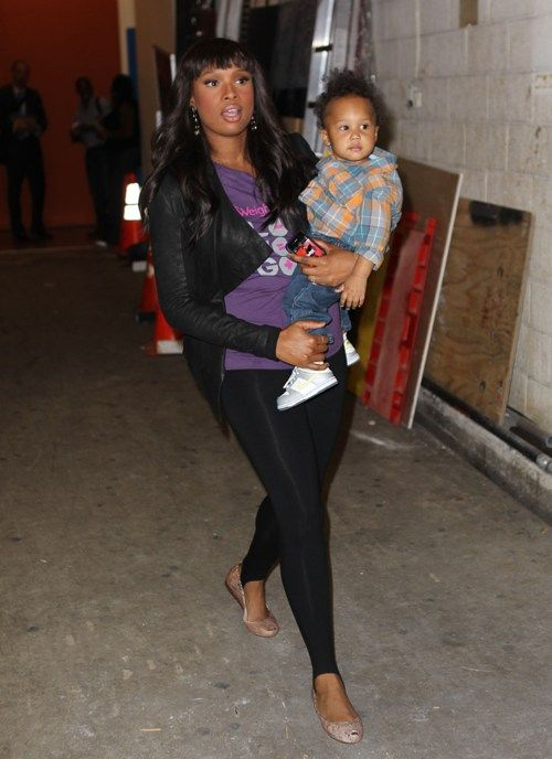 """Songstress Jennifer Hudson left the ABC studios in New York City, New York on September 15, 2010 with baby David Otunga Jr. in her arms after taping """"Live with Regis and Kelly""""."""