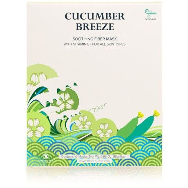 BioRepublic Cucumber Breeze Soothing Fiber Sheet Mask, Box of 10 ($45) ❤ liked on Polyvore featuring beauty products, skincare, face care, face masks, no color, hydrating facial mask, hydrating mask, moisturizing mask, facial mask and face mask