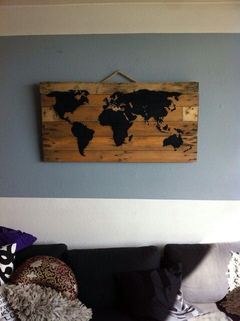 Earth on wood 3d-pin 120x60