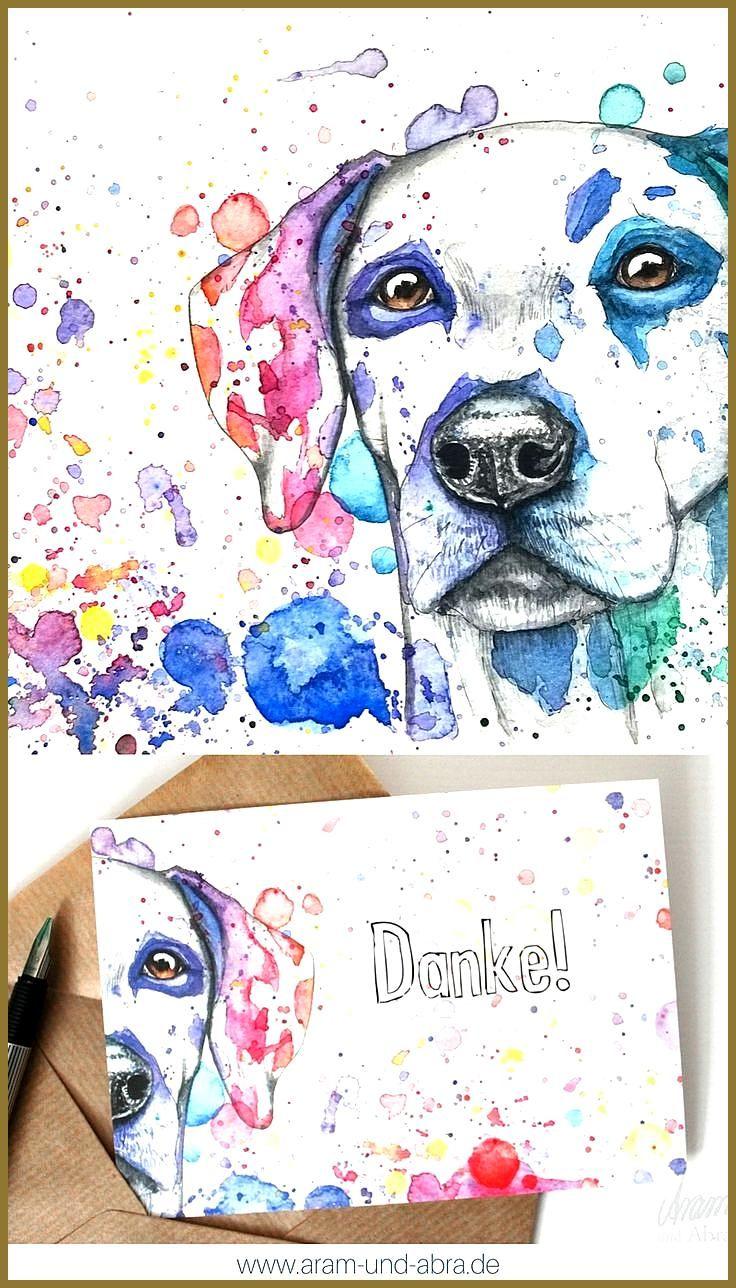 Illustration Zeichnung Aquarell Hund Dalmatiner Postkarte Danke