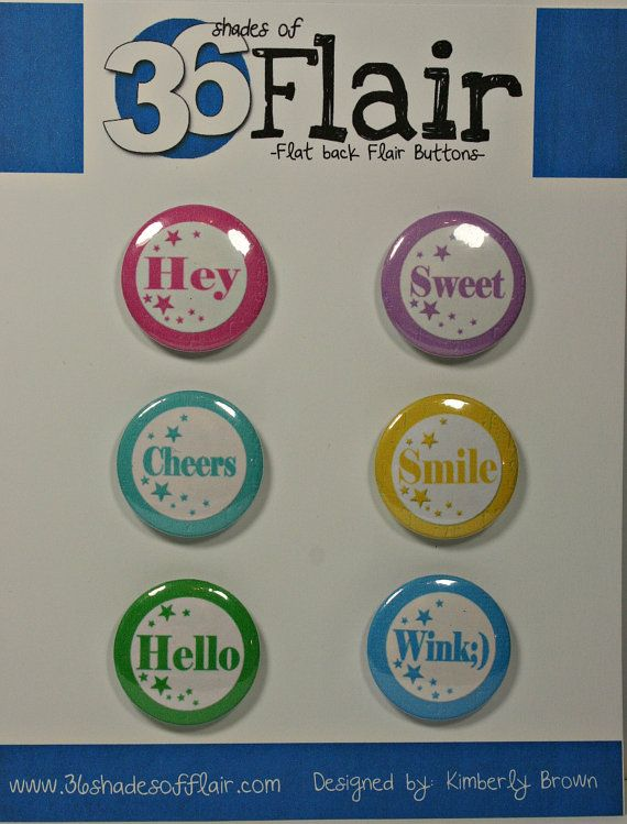 Star Bright Round Flat backed Flair Buttons by 36ShadesofFlair, $4.75