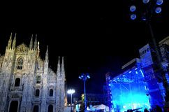Nadia Mikushova. A colorful midnight view to Duomo square during New Year's concert. Stock Photography