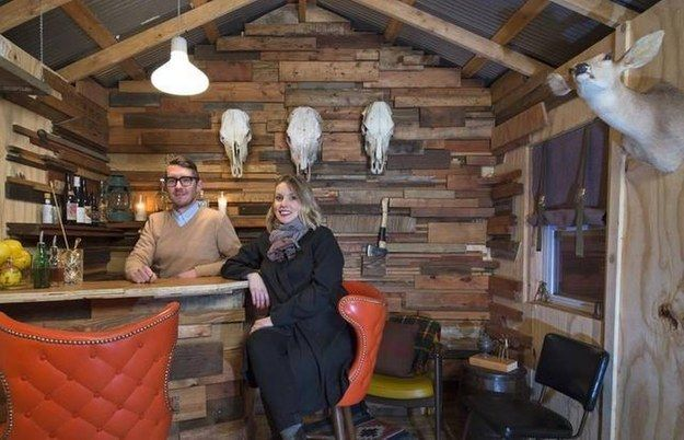 Love this one (but without the animal heads) | This Is How To Make Your Shed Into Your Own Private Bar