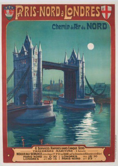 chemins de fer du nord - Paris nord à Londres - vers 1900 - illustration de Gustave Fraipont -