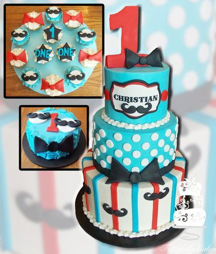 Lil Mister First Birthday - mustache cake