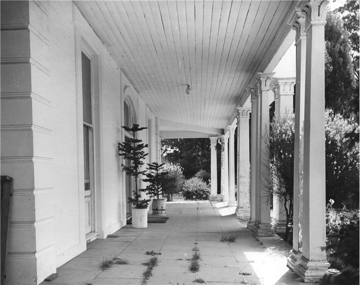 Flagstones and columns at the front door, A 1966 Photo.
