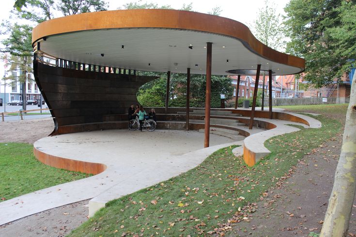 Bike shelter precedent? I like the thickness of the roof, and the thin columns contrasting